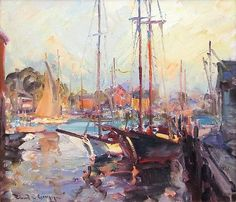 """""""Gloucester Harbor,"""" Robert Charles Gruppe, oil on canvas, 15.5 x 19.5"""", private collection."""