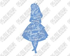 Alice in Wonderland Silhouette Disney Word Art Cut File Set in SVG, EPS, DXF, JPEG, and PNG