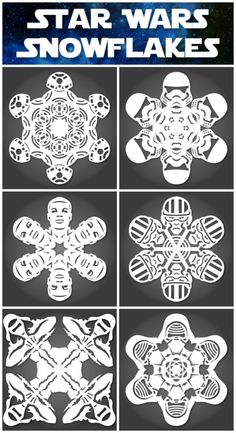NEW The Force Awakens Star Wars Snowflake Templates Star Wars Snowflakes, Snowflake Cutouts, Snowflake Designs, Star Wars Christmas, Kids Christmas, Kirigami, Quilling, Paper Snowflake Template, Star Wars Crafts