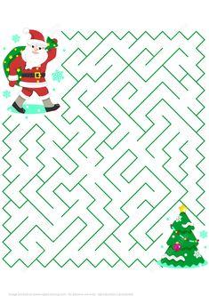 Christmas Maze Puzzle with Santa Christmas Maze, Mary Christmas, Christmas Crafts, Maze Puzzles, Puzzles For Kids, Christmas Activities, Christmas Printables, Free Printable Puzzles, Xmas Games