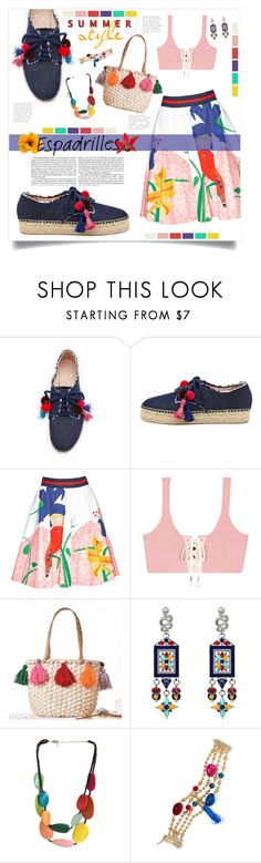 """""""Summer Style"""" by mmk2k ❤ liked on Polyvore featuring Kate Spade, Alice + Olivia, Puma, WithChic, One Button, Rosantica, Summer, espadrilles and Shoe"""
