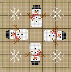 Cross-stitch Winter Biscornu... no color chart available, just use pattern chart as your color guide.. or choose your own colors...   DIY muñeco de nieve punto de cruz. Snowman cross stitch. Natal - boneco de neve