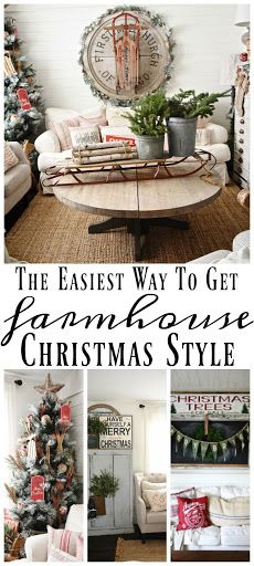 The easiest way to get farmhouse christmas style - Great tips and inspiration on how to decorate for the holidays & get the perfect cozy farmhouse look. Primitive Christmas, Merry Christmas, Farmhouse Christmas Decor, Christmas Love, Christmas Design, Country Christmas, Outdoor Christmas, All Things Christmas, Winter Christmas
