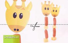 Traktatie Prikker Giraffe | met gratis print voorbeeld | Healthy treat with free printable | Smikkels.nl