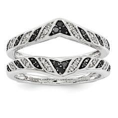 14K White Gold Black & White Diamond Ring Guard
