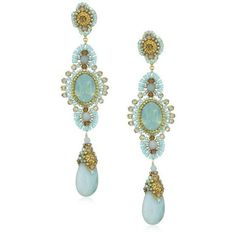 Miguel Ases Amazonite Long Drop Earrings: ... | A. Jewelry: Earbobs