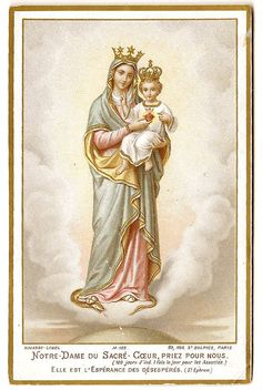 Our Lady of the Sacred Heart Virgin Mary & Baby Jesus in Crowns Antique French Catholic Holy Prayer Card Catholic Prayers, Catholic Art, Roman Catholic, Blessed Mother Mary, Blessed Virgin Mary, Fatima Prayer, Our Lady Of Lourdes, Lady Of Fatima, Beautiful Prayers
