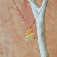 Geometric Handpainted Pendant Necklace