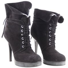 Preowned Giuseppe Zanotti Design Black Suede Ankle Boots Stiletto... ($249) ❤ liked on Polyvore featuring shoes, boots, ankle booties, black, lace up booties, black platform boots, black suede bootie, black booties et short black boots