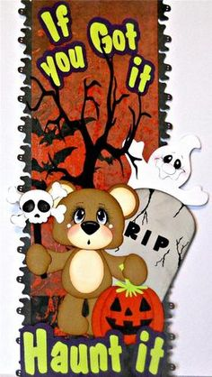 elite4u scrappinwmn premade scrapbook page border halloween bear paper piecing