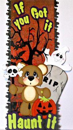 ELITE4U Scrappinwmn Premade Scrapbook Page Border Halloween Bear Paper Piecing | eBay