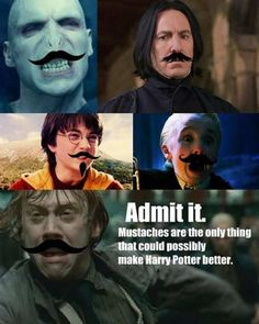 Admit it, mustaches are the only thing that could make Harry Potter Better. They make everything better. lol