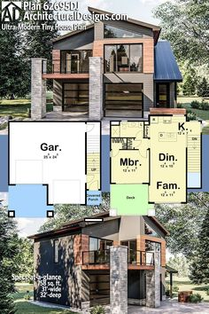 House Plan 62695DJ gives you 750 square feet of living space with 1 bedrooms and 1 baths. AD House Plan #62695DJ #adhouseplans #architecturaldesigns #houseplans #homeplans #floorplans #homeplan #floorplan #houseplan Garage Apartment Floor Plans, Garage Plans With Loft, Garage Ideas, Modern Tiny House, Small House Plans, Contemporary Cottage, Contemporary House Plans, Square Feet, Tiny House Exterior