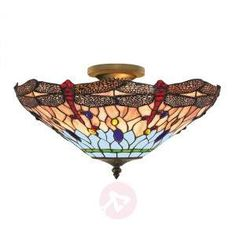 The classic Dragonfly ceiling light captivates with its Tiffany-style look