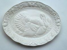Festive Thanksgiving Wild Turkey Platter Embossed Platter of Fruit Flowers Vines White Ceramic New Condition Made in JAPAN