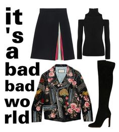 A fashion look from February 2016 featuring turtle neck sweater, leather biker jackets and knee length skirts. Browse and shop related looks. Mary Katrantzou, Donna Karan, Women's Clothing, Fashion Looks, Gucci, Turtle Neck, Clothes For Women, Woman, Female