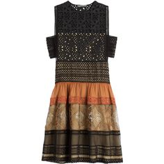 Alberta Ferretti Cotton Dress (€1.760) ❤ liked on Polyvore featuring dresses, multicolor, boho style dresses, bohemian dress, tiered dress, embroidered dress and side cut-out dresses