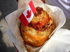"""First mayor of Montreal, called the maple """"king of the forest"""". Try our #Canadian #Bruffin w/ maple bacon & cheddar"""