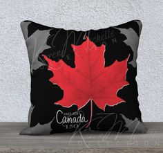 CANADA 150 - Commemorative Pillow Cover - Red Maple Leaf on Patterned Design