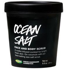 Ocean Salt face & body scrub - Washing with Ocean Salt is like taking your face on a trip to the seaside for an invigorating splash in the water. The minerals in sea salt soften as it scrubs away dirt, dead skin and blockages for a bright, fresh face. We mix in fresh avocado and coconut to hydrate thirsty skin, leaving it balanced and soft. The cleansing effects of lime and vodka are ideal for blocked pores, blackheads or blemishes and leave skin visibly brightened