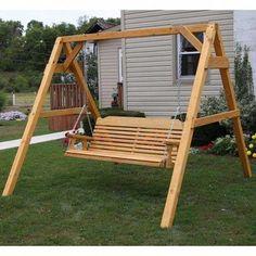 Centerville Amish Heavy Duty 700 Lb Classic Adult Porch Swing Set - April 28 2019 at Wooden Swing Frame, Outdoor Wooden Swing, Porch Swing Frame, Wooden Swings, Lawn Swing, Diy Pergola, Pergola Plans, Pergola Kits, Pergola Roof