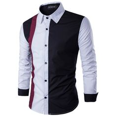 Camisa de manga larga informal para hombres de New Men's - Negro XL XL