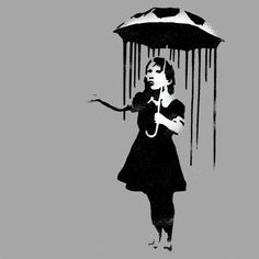 Banksy Nola stencil, Rain girl, Girl umbrella, HUGE Life size wall art stencil, Banksy replica painting stencil, Ideal Stencils