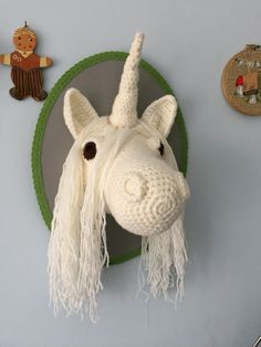 Crochet taxidermy unicorn... Check out Wool in a Teacup on Facebook Etsy & Instagram!!