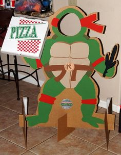 Awesome cardboard cut out for kids Ninja Turtle parties. @redblondeandburlap