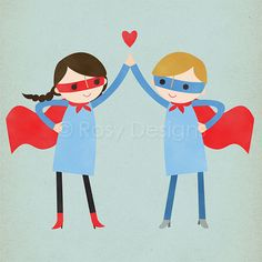 Best friends forever! Super high five! These two cute super heroes are ready to take on the world!    Other cute super hero versions (2 girls,