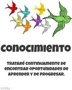 Conocimiento -  Buscad conocimiento, tanto por el estudio como por la fe (D. y C. 88:118).   www.lds.org/young-women/personal-progress/knowledge?lang=spa