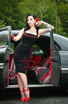 JACKE pinup uniform schwarz gothic bleistift rockabilly BELSIRA MILITARY KLEID