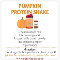 fuel up on-the-go! get the BlenderBottle fitfuel mixer for portable nutrition to power-up your workouts! emblazoned with fitlosophy's live life fit mantra, BlenderBottle's patented stainless steel Ble (low carb protein pancakes to get) Pumpkin Protein Shake, Protein Shake Recipes, Smoothie Recipes, Pumpkin Smoothie, Pumpkin Shake, Diet Recipes, Pumpkin Protein Pancakes, Nutribullet Recipes, Healthy Recipes