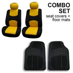 FH-FB050102 + V16404FRONT: Yellow Modern Flat Cloth Bucket Seat Covers and Black Vinyl Front Floor Mats Seat covers are made of durable polyester with 3mm foam in the middle and another layer of mesh cloth as the finishing layer.. Protects your car seats against dirt and daily wear, The material is 100% washable and breathable.. Seat covers have velcro opening on the top for easy installation. (If... #FHGroup #AutomotivePartsAndAccessories