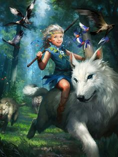 Legend of the Cryptids Picture fantasy, little girl, dryad, wolf) Character Design, Character Art, Game Art, Character Inspiration, Fantasy Art, Fantasy Creatures, Illustration Art, Art, Fantasy Inspiration