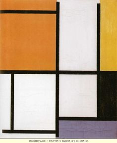 Piet Mondrian.  Composition / Compositie.  1921. Oil on canvas. 49.5 x 41.5 cm. Kunstmuseum Basel, Emanuel Hoffman  Bequest, Basel, Switzerland