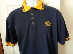 Corona Extra Official Product Polo Shirt Men's Sz XL Cotton Blue Gold Breweriana #Corona #PoloRugby