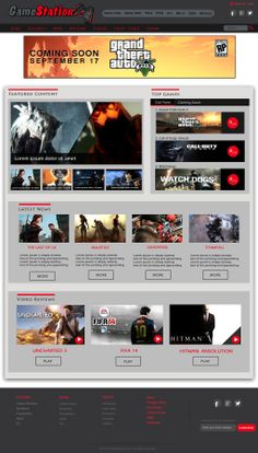 Web Layout for a Gaming Co.