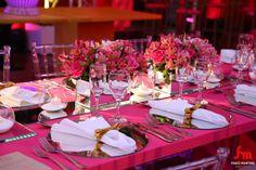 Combinação de pink, cristal e dourado