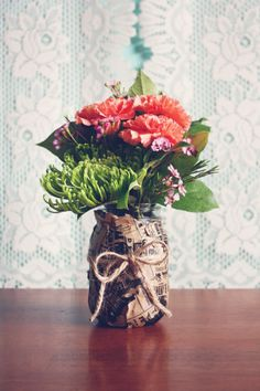 DIY PAPER BAG MASON JAR VASE