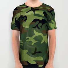 #Woodland #Green #Camouflage with Hidden #Face #printallover #shirt #tshirt #soceity6