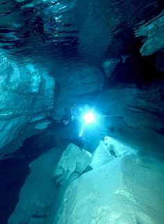 Diver at underwater cave entrance