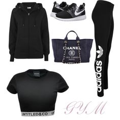 GYM by carovota on Polyvore featuring beauty, Chanel, adidas Originals and NIKE
