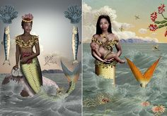 Talented South African artist, Karen Miller, creates these beautiful images of African sea mermaids through a combination of photography, gr...