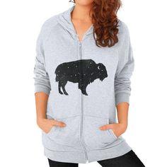 Mystic Buffalo Zip Hoodie (on woman)