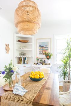 "House Tour: A ""Boho Beach Bungalow"" in California Decor, Boho Kitchen, Bohemian Dining Room, Bungalow Decor, California Apartment, House, Wicker Pendant Light, Boho Beach House, Home Decor"