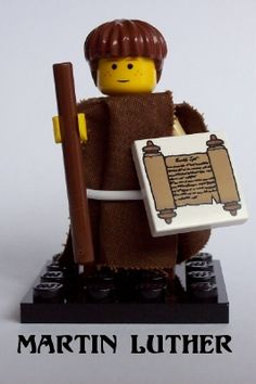 Lego Martin Luther says that we can buy a costume and get free candy on reformation day, but we can't pay the cost for our sins. This is why Jesus gave himself.