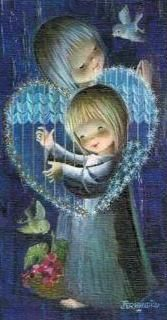 Recordatorio de Comunión Joan Ferrándiz. Año 1960 Vintage Christmas Cards, Vintage Cards, Christmas Angels, Christmas Art, Spanish Painters, Star Children, Cute Clipart, Happy Art, Angel Art