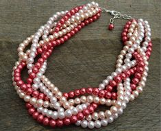 Pink Pearl Necklace Braided Cluster on by haileyallendesigns, $36.00