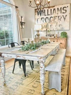 We could make this sign.           Hall         Family         Dining        And look at that bench for one side of your table.